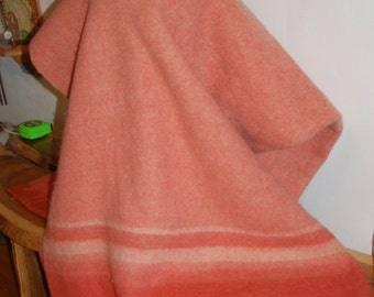 """Vintage Coral / Sunset Orange Striped Fluffy Wool Blanket with Satin Edging ~ 86"""" long * 68"""" wide ~Excellent condition"""