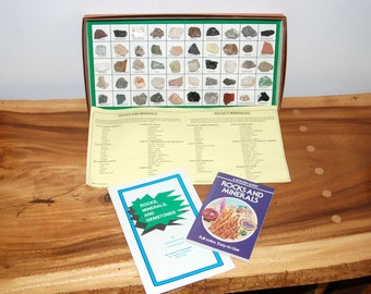 Rocks and Minerals Collection of 50 Specimens from Geoscience Industries ~ 1950's Box Collection w/ color Book Guide & Kernaghan Study Guide