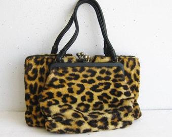 Meow! Vintage 50s 60s Faux Leopard Print Plush Handbag Purse