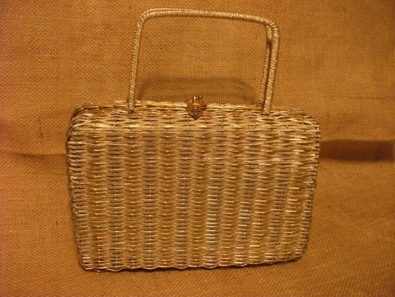 Retro Handbags, Purses, Wallets, Bags Vintage Walborg Gold & Silver Woven Metal Handbag Mid Century 1950s Mad Men Purse Handmade $15.00 AT vintagedancer.com