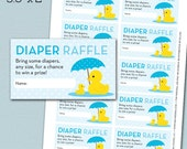 Rubber Duck Baby Shower Diaper Raffle Card Ticket - Baby Blue and Yellow - Rubber Duck - Instant Download