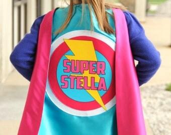 Girls Personalized Superhero Cape with full name - Supergirl - Superhero party - Customized girls birthday present