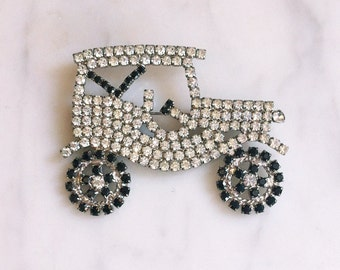 Vintage 60s 70s Rhinestone Car Pin / Antique Car Model-T Ford Brooch