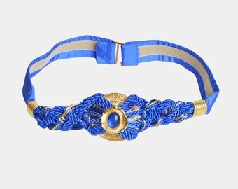 Vintage 80s MOROCCAN Metal Woven Rope BELT / 1980s Gold Buckle Blue Rope Adjustable Belt s m