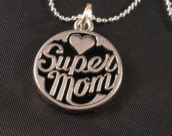 Super Mom Pendant, Sentimental Pendant. Mom Gift, Stocking Stuffer