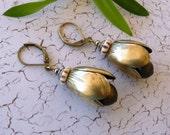 Vintage Assemblage Brass Buds Ddangle Earrings
