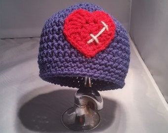 Stitched Heart Hat- Crochet Hat- Heart Surgery- Open Heart- Stitched Heart- Crochet Heart- Custom Made- Your Colors- Hat- Heart- Stitches