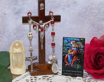 Saint Mary Magdalene Unbreakable Catholic Tenner Rosary w/ the Magdalene Symbols, Original Design