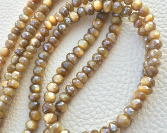 Brand New, Rare Natural Mystic Caribbean Yellow Moonstone Faceted Rondelles,5.5-6mm size,Full 8 Inch Strand,Amazing Item.