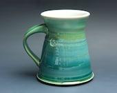 Pottery coffee mug, ceramic mug, stoneware tea cup jade green 16 oz 3524