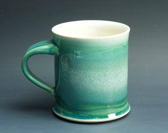 Pottery coffee mug, ceramic mug, stoneware tea cup jade green 16 oz 3269