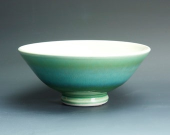 Handmade pottery bowl jade green porcelain serving or pottery salad bowl 24 oz - 3407