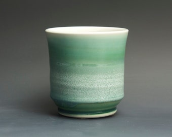 Handcrafted porcelain tea cup tea bowl jade green Japanese yunomi 14 oz. 3154