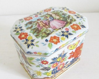40% OFF SALE Vintage 1960's Candy Tin / Confection Tin Container Box Collectible Victorian Scene Floral Rose English Tin