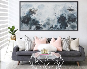 Large abstract seascape painting blue black horizontal painting 'August of the sea' Elena Petrova