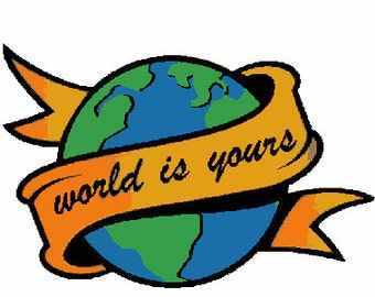 World is yours digital embroidery design