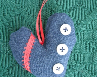Denim Heart Ornament / Home Accent  / Home decor / Upcycled fabric