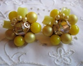 Vintage Gold Tone Yellow Glass and Plastic Beaded Clip On Earrings from Japan