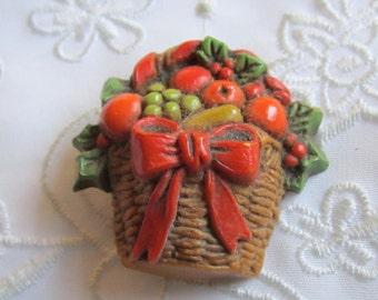 Vintage Hallmark Plastic Holiday Basket of Fruit and Red Ribbon Brooch