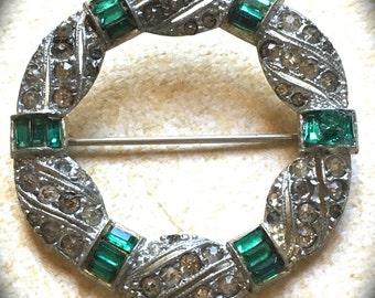 Green Rhinestone Brooch- Vintage Rhinestone Brooch- Pave Rhinestone Brooch- Vintage Green Rhinestone-Vintage Brooch- Vintage jewelry Pin