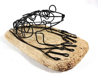 Frog Wire Sculpture, Frog Folk Art, Minimal Sculpture, Home Decor, 474244537