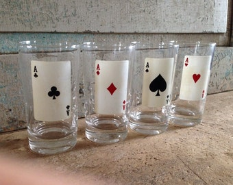 Set of 4 Federal Glass Playing Card Drinking Glasses