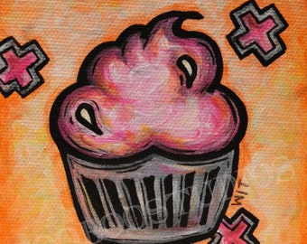 Cupcake Painting Original Small Square Art Unique Wall Decor Perfect for Apartment or Small Space Cute Pink Orange Pop Art Baker Gift Idea