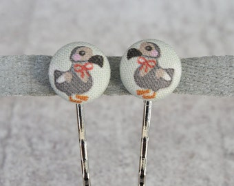 Dapper Dodos Fabric Button Bobby Pin Pair