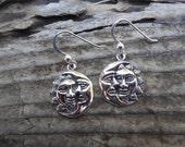 Moon and sun earrings handmade in sterling silver 925