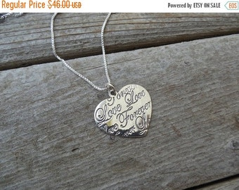 ON SALE Love forever heart necklace in sterling silver