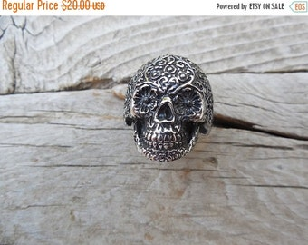 ON SALE Sugar skull ring cast in stainless steel