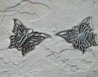 Pewter butterfly focal, lead free, 39x29mm, #292