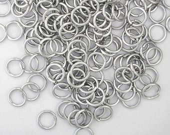 Bright silver color aluminum jump rings, 16G, 2 sizes - #1008/1020