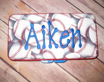 Red White Blue Personalized Baseball Travel Wipe Case - Baseballs - Take me out to the Game
