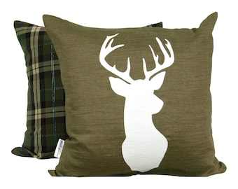 White Deer Print, on Olive (backed in plaid)