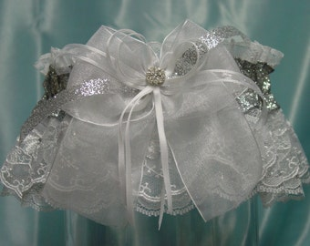 Sparkling Silver and White Embroidered Rhinestone Garter