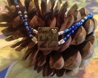 Chance Luck Fate Destiny necklace double strand blue seed beads upcycled Lucky Brand bracelet bead
