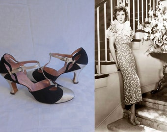 Chic is Still Chic - Vintage 1930s Black Rayon & Ivory Silk Satin Open Vamp T-strap Heels Pumps Shoes - 5/5.5