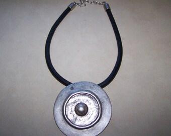 Awesome Silver pewter Ethnic Boho Disc Slide Necklace