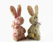 Vintage Bunny Stuffed Animal, Distressed Easter Bunny, Mizpah Toy, Pixy,  Well Loved Toy, Set of Two