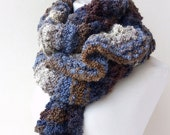 Hand knitted scarf , Knit Wrap , Knit Shawl , Chunky Scarf