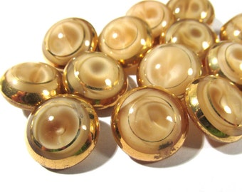 Tan Moonglow Glass Buttons West Germany VINTAGE Gold Luster Seventeen (17) Brown Buttons Vintage Wedding Jewelry Sewing Supplies (J128)