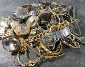 Watches for Parts or Repair Thirty (30) Assorted Watch Bands Cases No Guts Some Crystals Jewelry Art Watch Repair Supplies (F141)