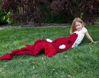 Dragon Blanket - Crochet Wearable Blanket - Dragon Cocoon - Handmade Afghan - Crochet Lapghan - Crochet Dragon Throw - Red and Black Dragon