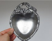 CLOSING 50% Pewter heart dish coin dish