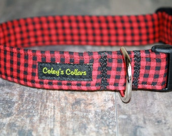 """Dog Collar Medium 1"""" Ready to Ship Sale  """"The Bennett in Red"""""""