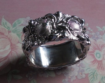 Vintage Whiting & Davis Art Nouveau Repousse High Relief SilverTone Wide Hinged Cuff Bracelet