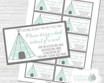 TeePee Baby Shower Book Insert Request Instead of a Card INSTANT DOWNLOAD  Matching Digital DIY printable Arrow Tribal Boho