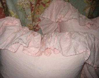 READY TO SHIP-Baby Pink Washed Linen-Pair of Long Ruffled Pillow Shams--Zip Closures-Pillow Size 20x20 Plus Long Ruffled Perimeter