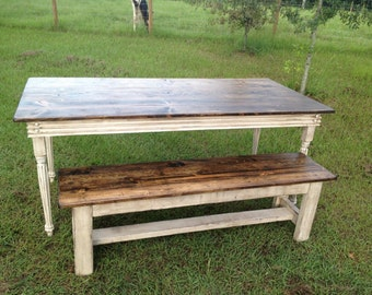 Farm Table Bench--WOOD BENCH ONLY---Single Bench for Farm Table